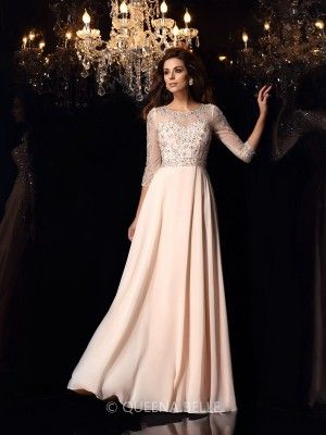 A-Line/Princess Scoop Chiffon 3/4 Sleeves Beading Floor-Length Dresses - Prom Dresses - Occasion Dresses - QueenaBelle 2017