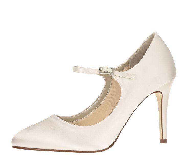 Emily Bridal Elfenbein Hochzeit Schuhe Peep Toe Lace Detail Brautschuhe Frauen High Heels (EU39, Elfenbein)
