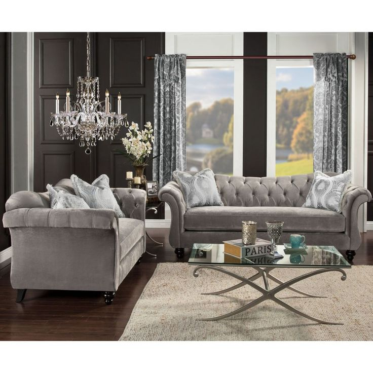 grey sofa and loveseat tufted set velvet fabric home furniture modern solid new - Grey Tufted Sofa