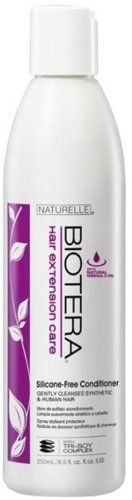 Biotera Sally Beauty Hair Extension Care Conditioner. Extra gentle formula us safe for natural or synthetic hair extensions. Silicone-Free. Contains natural Omega-3 Oil.