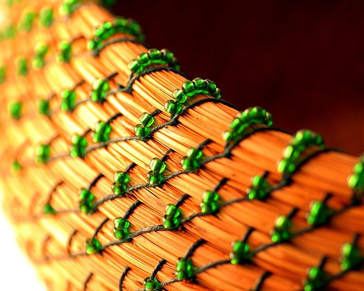 Green beaded pine-needle basket   I need to try this......