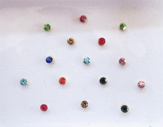26 Colorful/Silver Stick On Fake Nose Studs/Silver Small Fake Ear Studs/Bindi Nose Studs/Fake Nose Studs/Rhinestones sticker