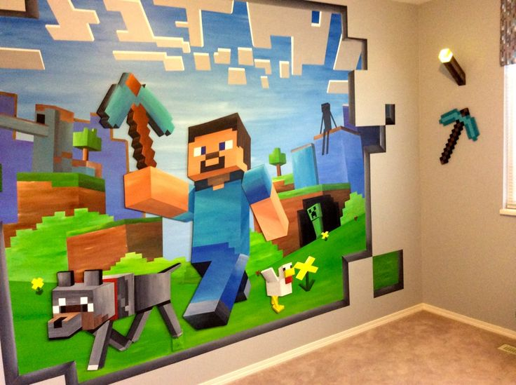 14ft x 8ft custom minecraft mural carter 39 s room chambre papier peint chambre ado. Black Bedroom Furniture Sets. Home Design Ideas