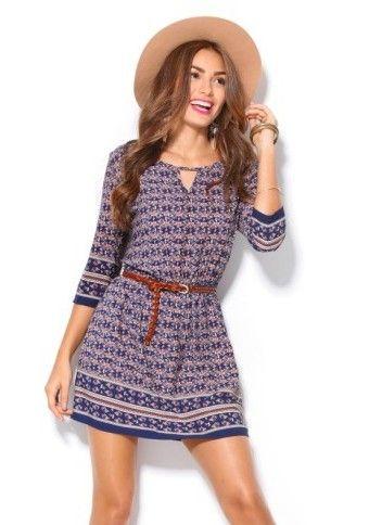 Šaty s potiskem a 3/4 rukávy #ModinoCZ #modino_style #modino_cz #fashion #dress #comfy