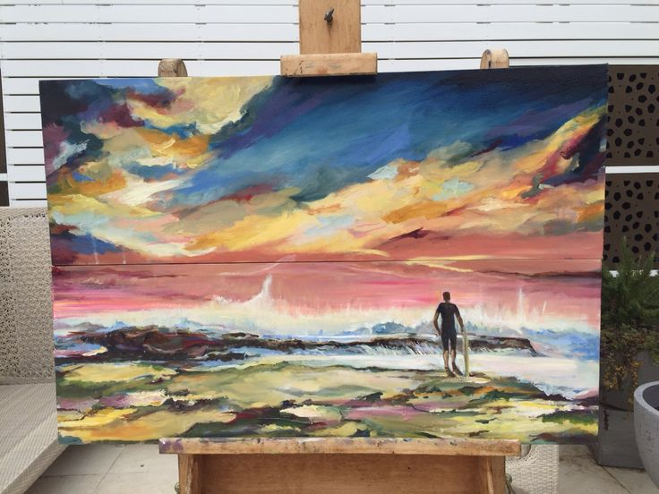 Surfer at Sunset. Recently completed oil painting. Visit my web site at chrishuebnerart.com.au