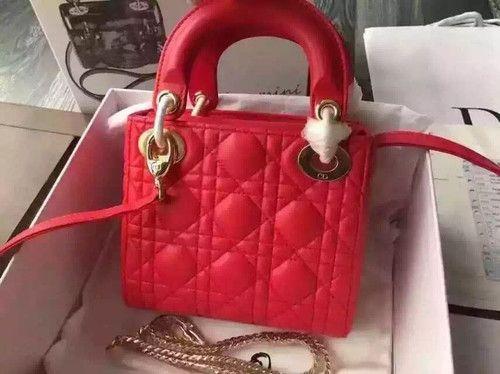"Christian Dior LADY DIOR MINI ""LADY DIOR"" BAG RED LAMBSKIN"