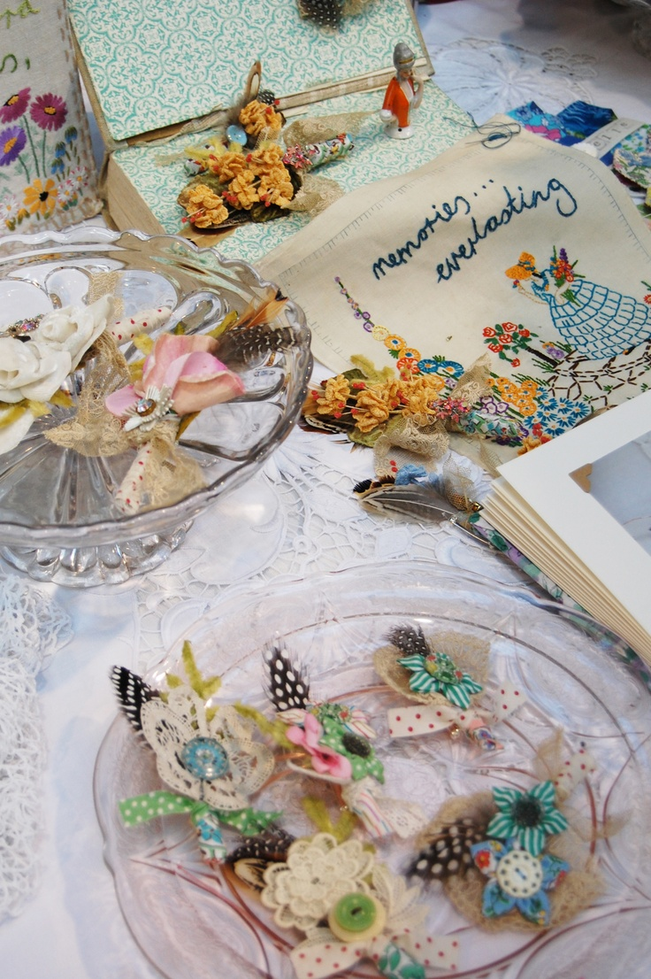 vintage crochet flower button holes by Gemma at the button tin weddings...