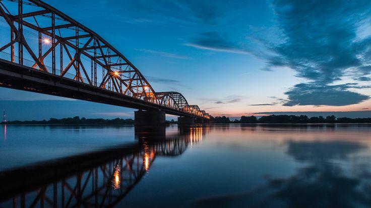 Grudziadz, Poland - the bridge of Bronislaw Malinowski - the longest road-railway bridge in Poland, 1098 m.