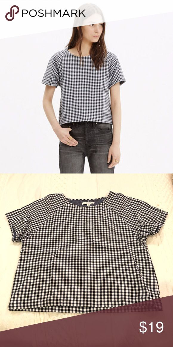 7d39476e3e208c Raglan Crop Top in Checkered Gingham In excellent used condition - no signs  of wear! Gingham is dark navy blue (almost black) and whi…
