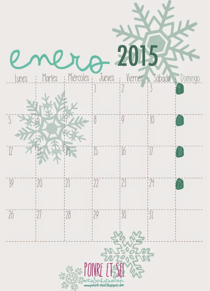 calendario enero 2015 decorados - Buscar con Google