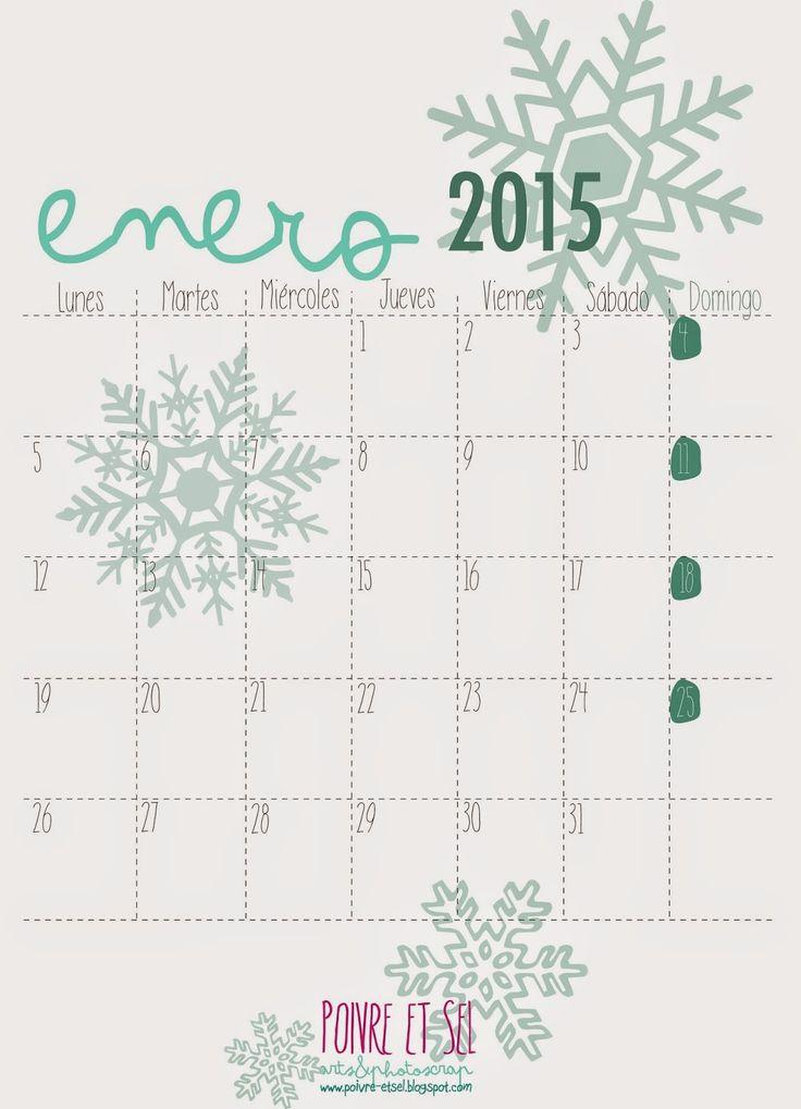 Arts&Photoscrap: FREEBIES - Calendario 2015 ENERO - descárgatelo!!!