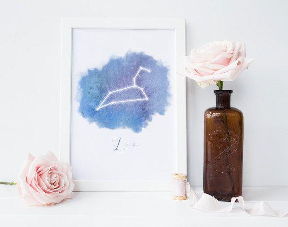 Leo constellation printable, Leo art, Leo Zodiac, August birthday gift, Zodiac sign gifts, night sky art,zodiac print,INSTANT DOWNLOAD