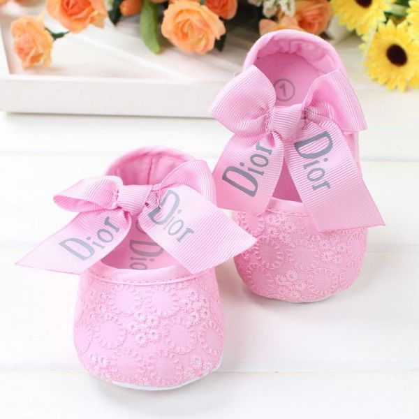 2015New Cotton Soft Baby Girls First Walkers Shoes Brand Flower Embroidered Toddlers Crib Shoes With Big Bowknot Pre-walker