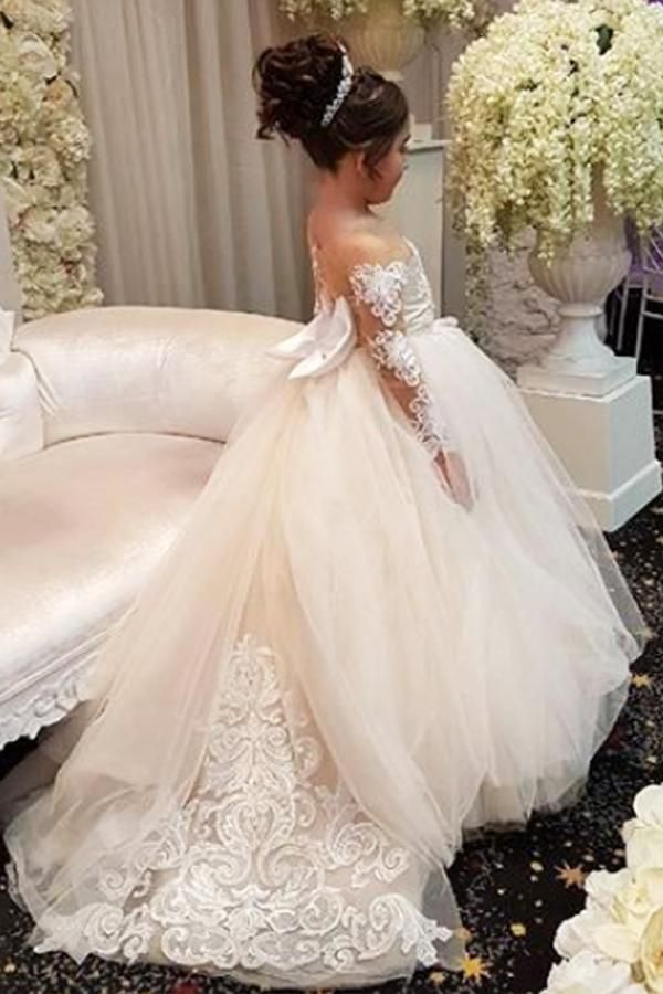 8f3e0684f Elegant Long Sleeves Lace Applique Tulle Flower Girl Dresses with A Bow