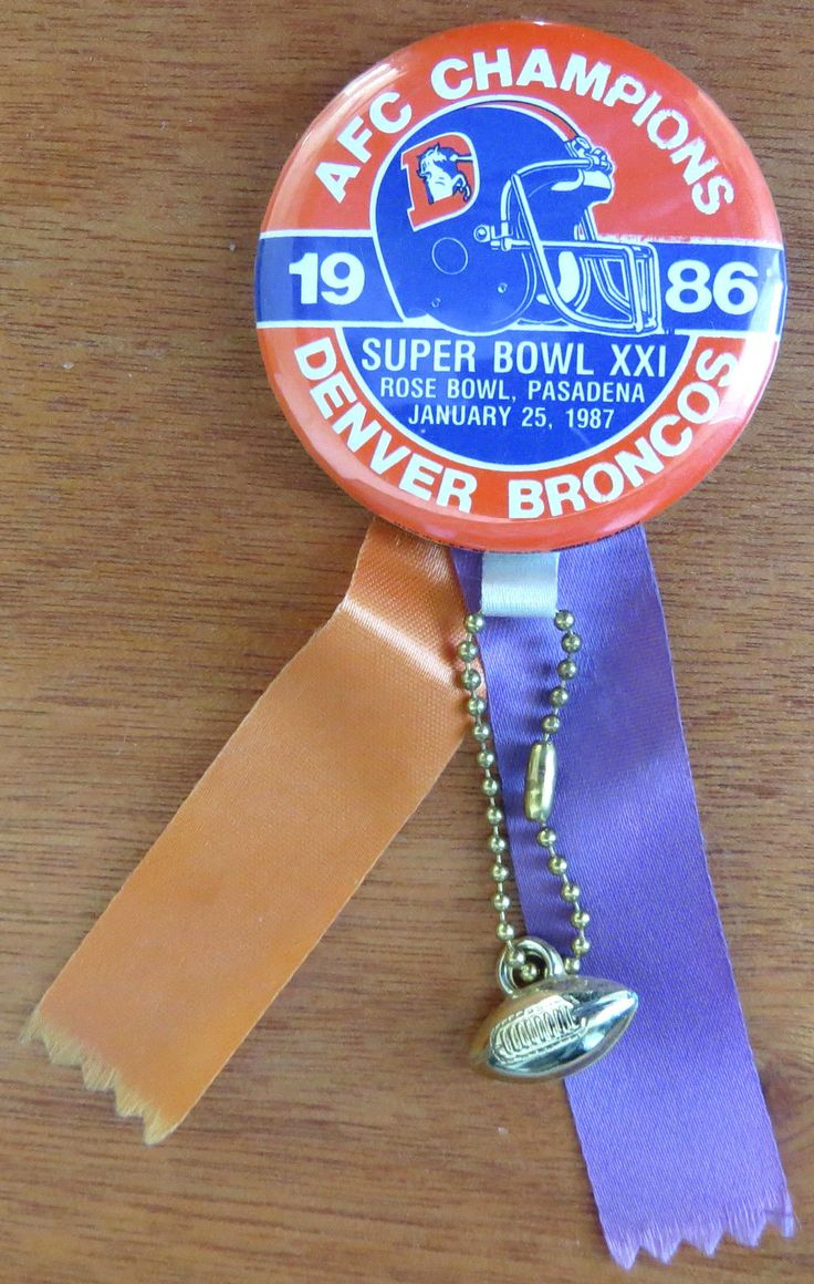 Vintage 1987 DENVER BRONCOS Football NFL SUPER BOWL XXI Pinback w Ribbons