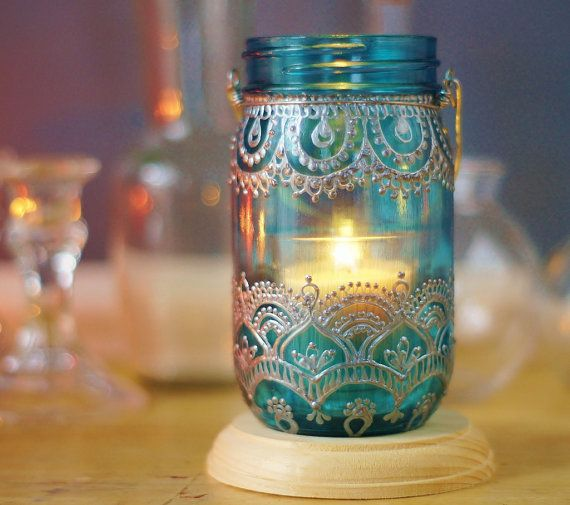 Henna Mason Jar Lantern Teal Glass with Silver by LITdecor on Etsy, $28.00