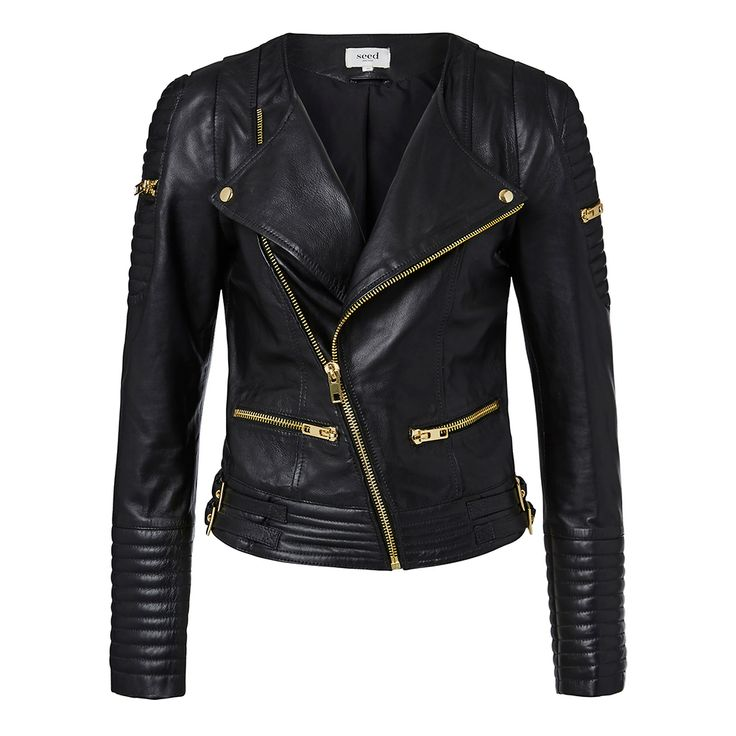 100% Leather Biker Jacket. Fitted silhouette features a double breasted panelled body and sleeves, lapel, exposed Gold zippers at shoulder top body, pocket opening and buckle ties at waistband. Available in Black as shown.