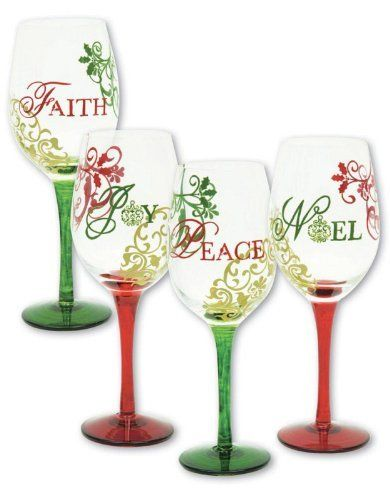 Barware, Traditions of Christmas,Handpainted Wine Glass 12 oz,Glass,3.5x9 Inches,Assorted 4 by Cypress Home. $59.88