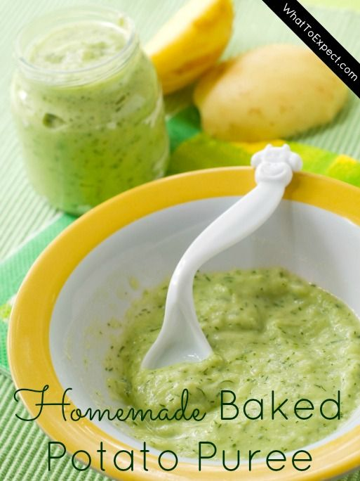 How to make your own baked potato puree with broccoli for baby