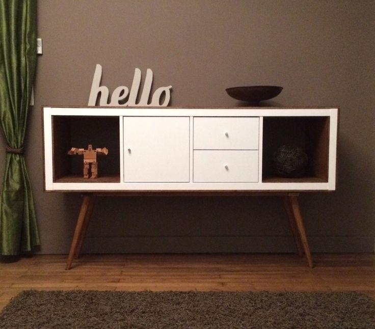 hacked Ikea Kallax shelf turned console