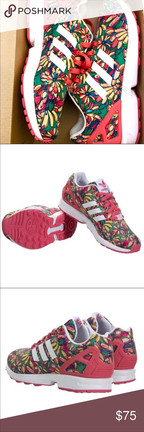 New Adidas Athletic Floral Shoes Adidas Zx flux floral multi-color athletic shoes. Coral/ Red color. Women - size 8.5. Great condition, as new! Only worn once. The shoes come with their original box. adidas Shoes Athletic Shoes