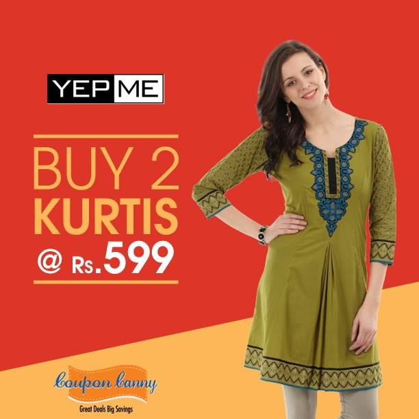 Buy any 2 #Kurtis @ Rs.599 only at #Yepme! Claim Now : http://www.couponcanny.in/yepme-coupons/