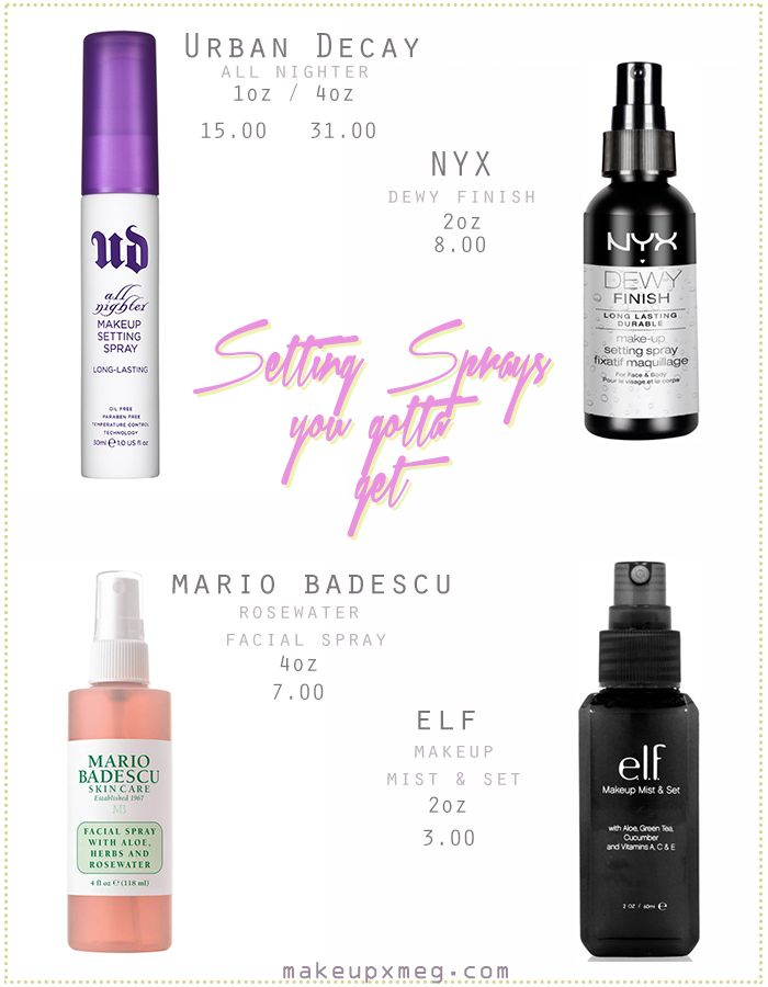 Makeup setting sprays that I love!! Ranging from affordable to drugstore!! ______________________ #beauty #settingsprays #makeup #nyx #elf #urbandecay #mariobadescu #affordable
