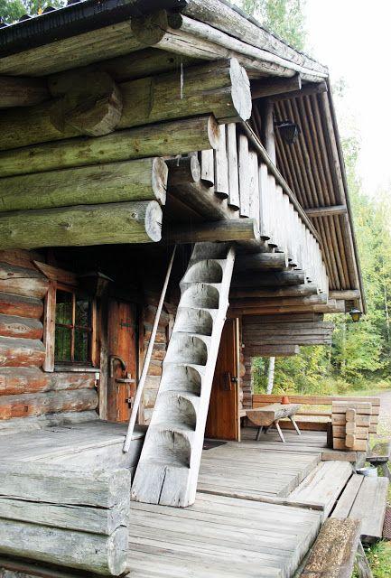 Smoke sauna building in Hostel Vaihelan tila in Joutsa in Lakeland Finland.