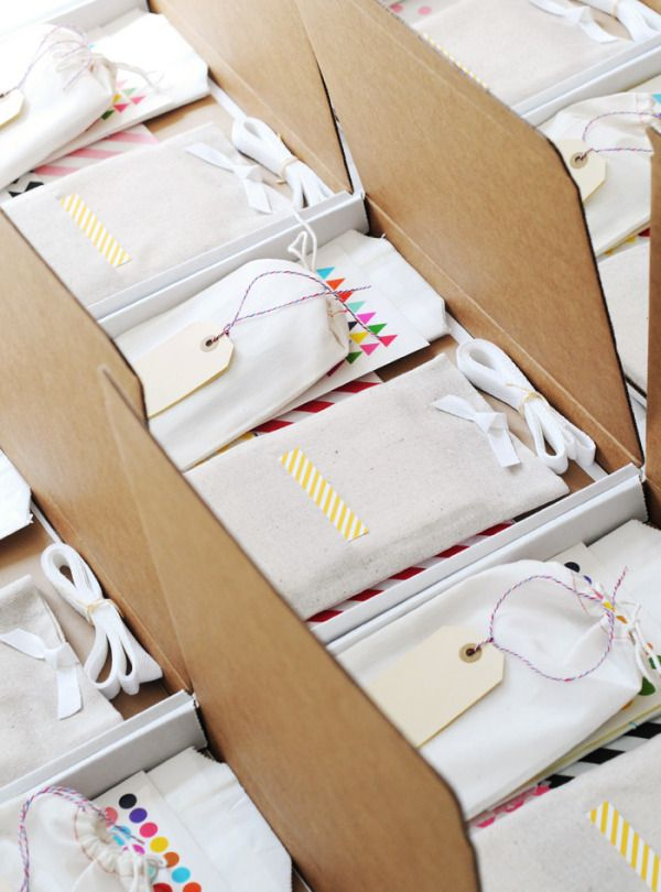 Each goody box held white and kraft sticker paper, glassine bags, Bitty Bags fro