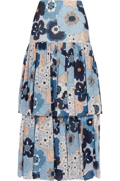 Chloé - Floral-print Cotton-gaufré Maxi Skirt - Blue - FR38