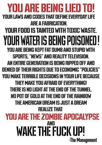 """SERIOUSLY... TAKE YOUR LIFE, NATION AND WORLD SERIOUSLY AND STOP BEING DISTRACTED BY ALL THE MEDIA, ENTERTAINMENT, """"REALITY"""" SHOWS, MOVIES, MUSIC, SPORTS AND FASHION BULLSHIT - LIVE YOUR OWN REALITY AND REALIZE WHAT'S BEING DONE TO YOU AND YOURS!!!"""