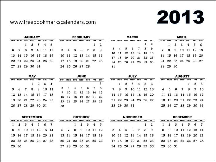60 Best Printable - Calendar 2013 Images On Pinterest | 2013