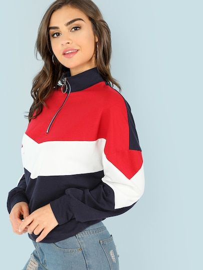 1aab787e Shop O-Ring Zip Front Cut and Sew Sweatshirt online. SheIn offers O-Ring Zip  Front Cut and Sew Sweatshirt & more to fit your fashionable needs.