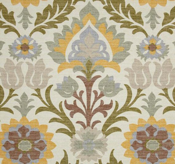 "Southwestern Curtain Panels, Neutral Home Decor, Modern Floral Drapes, Custom Drapery Panels, Rod-Pocket Curtains, One Pair 50""W"