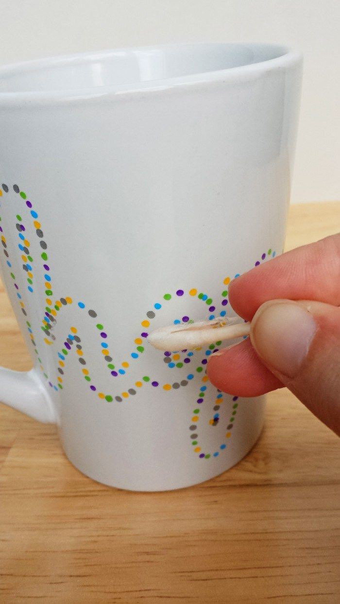 Using Nail Polish Remover to Touch Up Dotted Sharpie Mugs