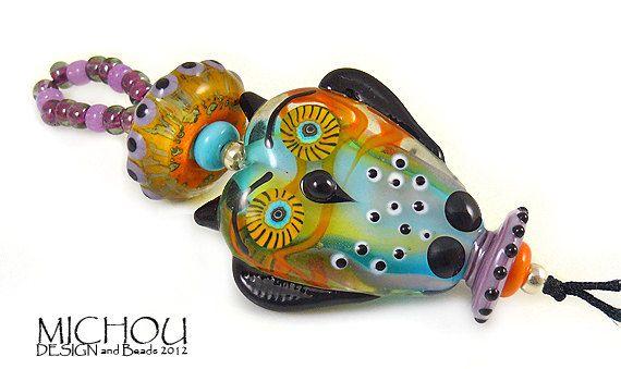 Cheeky Owl  Lampwork Jewelry by Michou P Anderson by MichouJewelry, $119.00