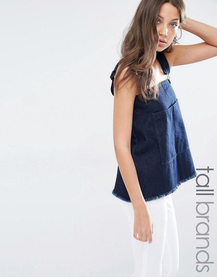 Bild 1 von Waven Tall – Jeans-Oberteil im Latz-Look
