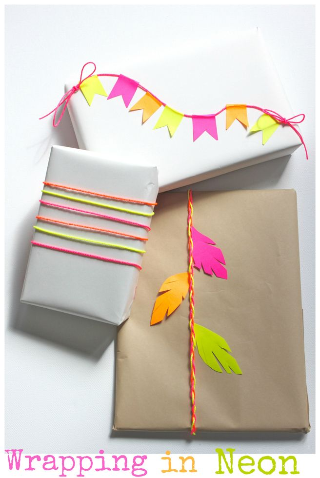 DIY gift wrapping in neon.
