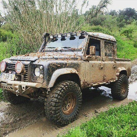 Land Rover Defender 110 in mud- LandRoverLife