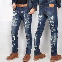 2017 Personalidad Masculina Impreso Pantalones Vaqueros Hombre Vaqueros de Impresión de Algodón Más tamaño 28-38 Jeans Para Hombres Pantalones de Mezclilla Negro Caliente!