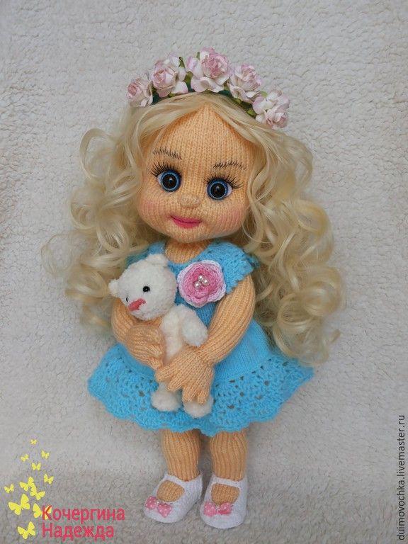 Купить Василиса - бирюзовый, вязаная игрушка, вязаная кукла, вязаный пупс, кукла, куколка