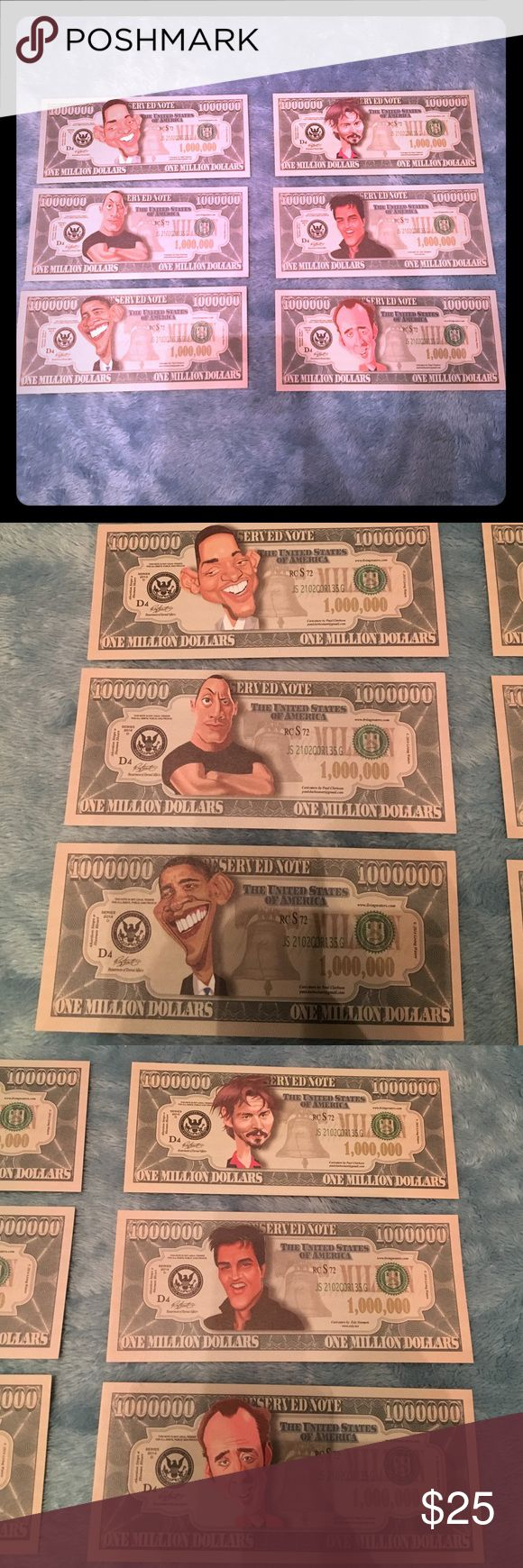 Various million dollar bills 6 famous celebrities on million dollar bill (FAKE MONEY)                                                                                 $5 for one or $25 for all OR BEST OFFER Other