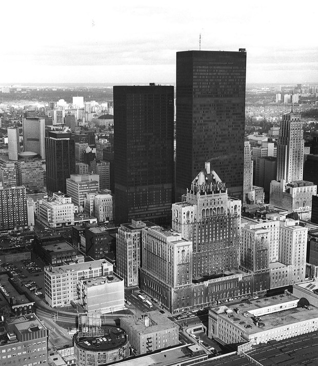 Mies van der Rohe's Toronto Dominion Centre towered over The Royal York Hotel, the former largest / tallest building in the British Empire / Commonwealth of Nations