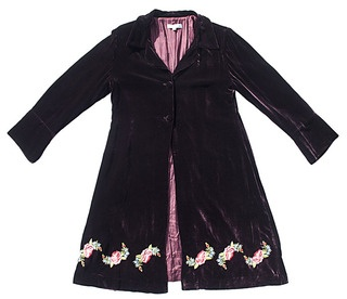 Divine silk velvet coat with gorgeous hand embroidered roses around the base. Very flattering swing style for all figures with a yolk at the back.