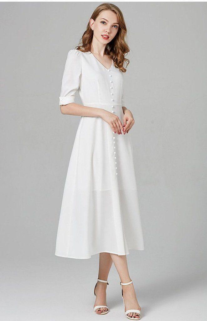 1da9f2a5662 New Midi White Dress Line Patterns, Sleeve Styles, Neckline, V Neck, Calf