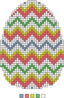 """This ornament can be worked in tent stitches, long stitch (bargello or flame stitch), or select textured and decorative stitches from the needlepoint stitch list.  Materials Needed:  DMC Pearl Cotton #3, 1 skein each of white, light blue, pink, green and yellow.  Zweigart 13-count  Mono Canvas, 8x10""""."""