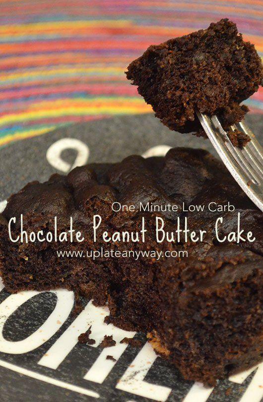 One minute low carb chocolate peanut butter mug cake. LCHF Keto dessert