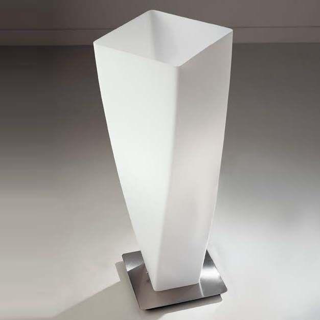 SPYRA abajur cod. B067501 Vidro soprado e acetinado com suporte em metal niquel acetinado