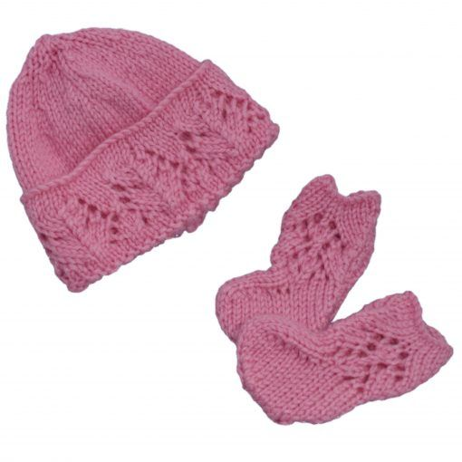 premature-baby-clothes-hand-knitted-hat-and-booties-set-pink