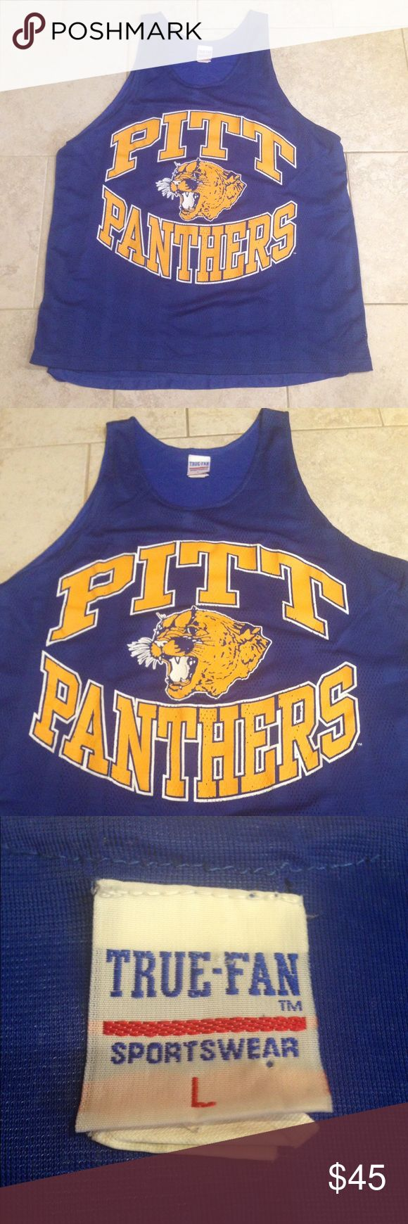 Vintage PITT Panthers Basketball Jersey Very rare and in great condition! Has been in plastic for a very long time! Practically looks and smells brand new. This jersey has two layers like the old school jerseys used to have. I'm not sure the era on this particular style but I'm going to guess the 80's. Size Large in Men's. Tops Tank Tops